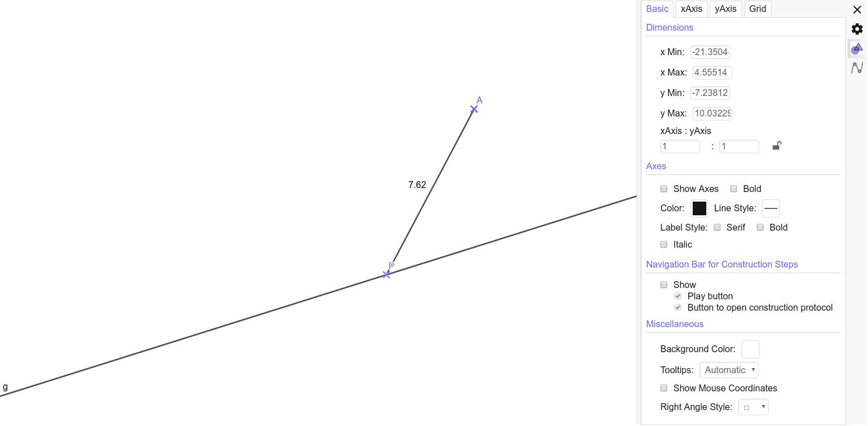 Verschiebe den Punkt P um die kürzeste Entfernung zwischen A und g zu ermitteln.  Drücke die Eingabetaste um die Aktivität zu starten