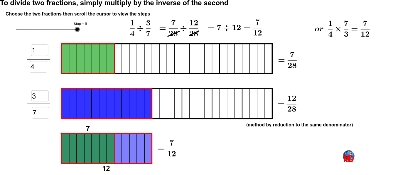 To divide two fractions, simply multiply by the inverse of the second Press Enter to start activity