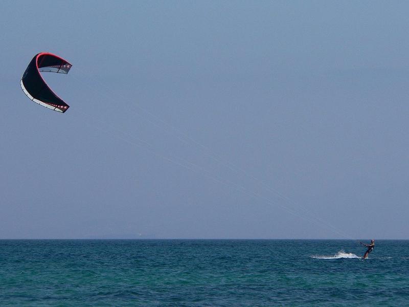 Surferen er 180 cm høj Hvor højt over vandet flyver kiten ca?