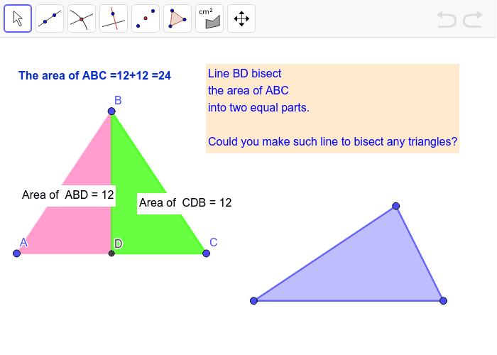 Bisect it into 2 equal areas! Press Enter to start activity