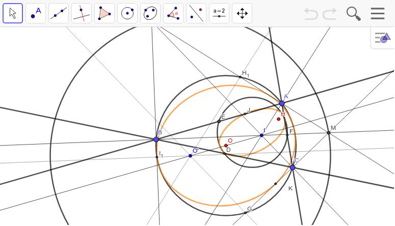 このことから外接円と九点円はつながっています。九点円は等角共役点を使って内接楕円(橙)にすることができます。