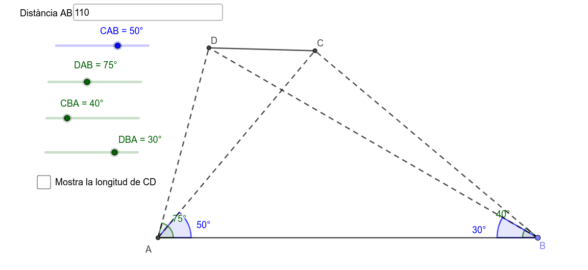 Donada la distància AB i els angles senyalats, trobar la distància de C a D (longitud del segment CD) Premeu Enter per iniciar l'activitat