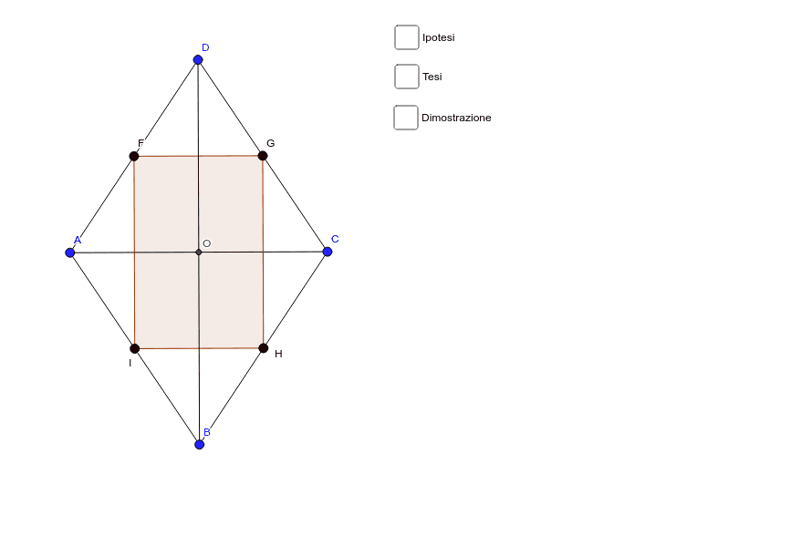 Dimostra che i punti medi dei lati di un rombo sono vertici di un rettangolo.