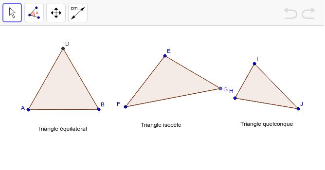 """Faites glisser les points et utilisez les outils de mesure pour explorer ces triangles. Tapez """"Entrée"""" pour démarrer l'activité"""