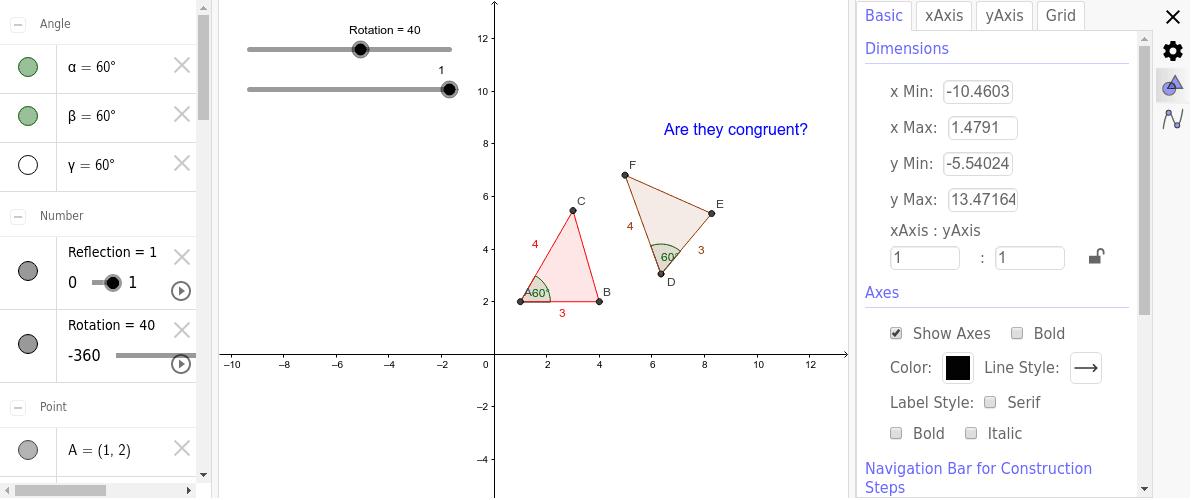 Congruent Triangles Demo 按 Enter 开始活动