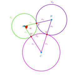 Trois cercles tangents (cas particulier )