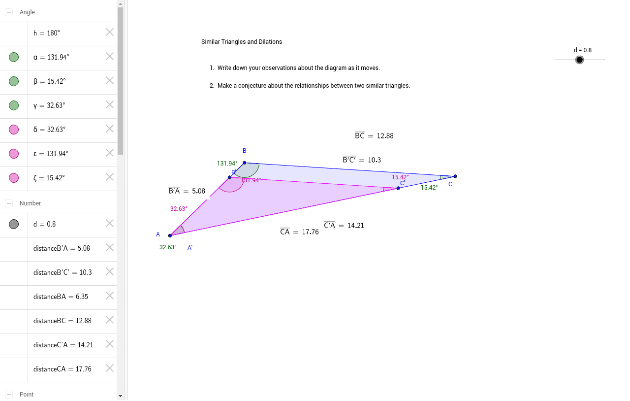 Similar Triangles And Dilations Geogebra