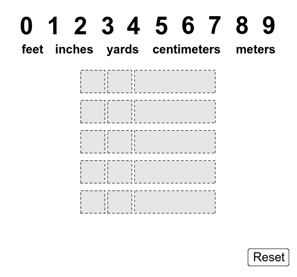 Drag the digits to the small boxes and the units to the big boxes.  What's the greatest total distance you can make?  What's the least?