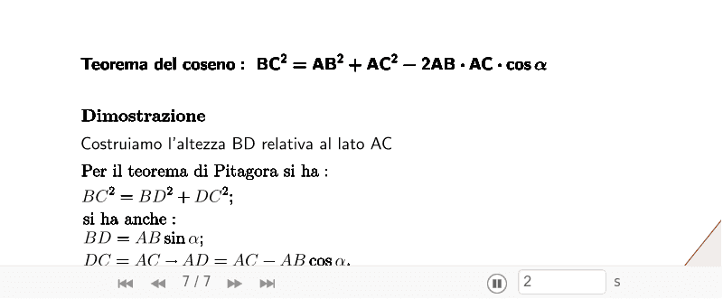 Clicca sulle frecce per visualizzare il teorema e i passi della dimostrazione Press Enter to start activity