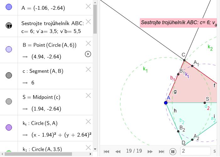 Konstrukce trojúhelníku (c, v_a, v_b)