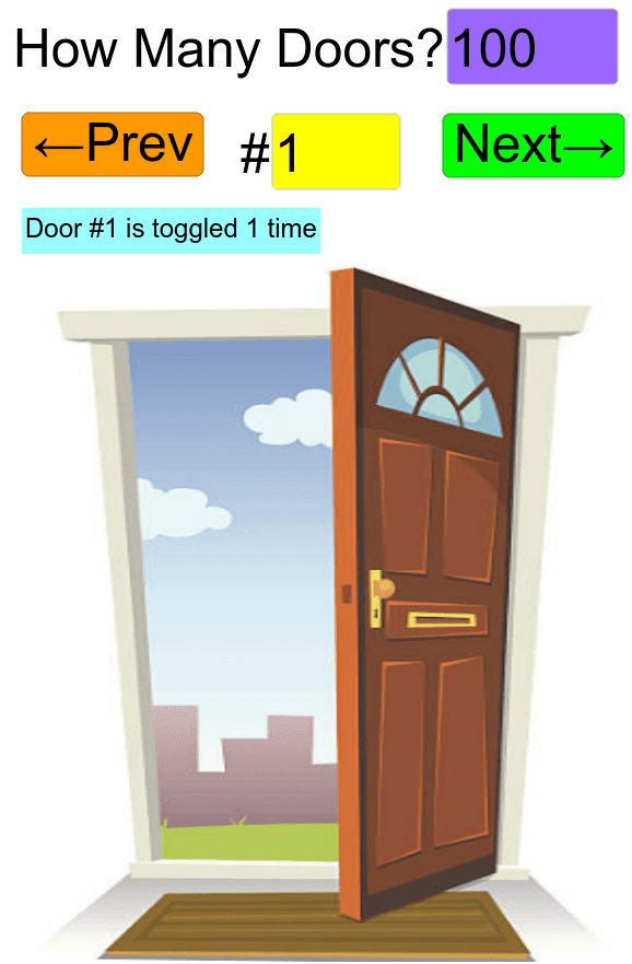 Scroll down below door to read the riddle. Do you notice a pattern in which doors are open? Press Enter to start activity