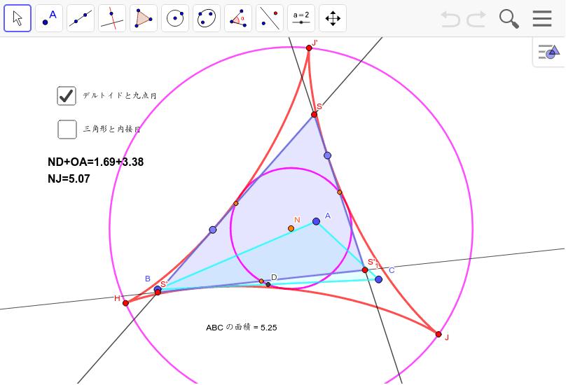 ピンクの小円を九点円とする三角形をどう作図したらいいのか? △SS'S'_1の九点円はピンクの円。接点を動かすと三角形が変わるが、九点円は変わらない。 ワークシートを始めるにはEnter キーを押してください。