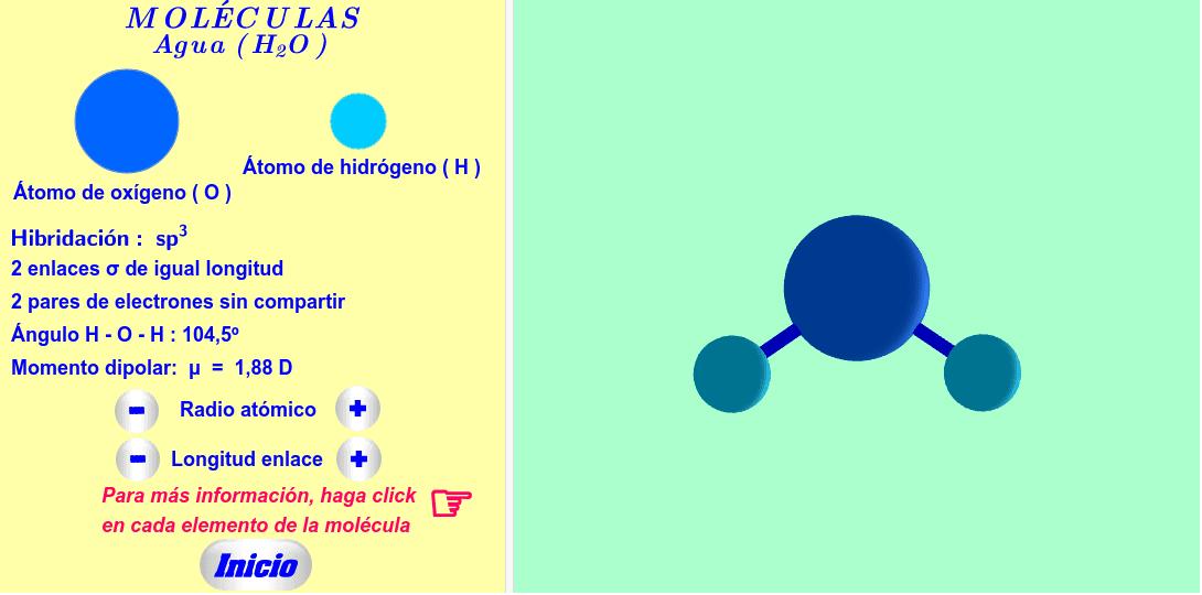 Moléculas del tipo AX2E2 ( haga click en cada elemento de la molécula ).