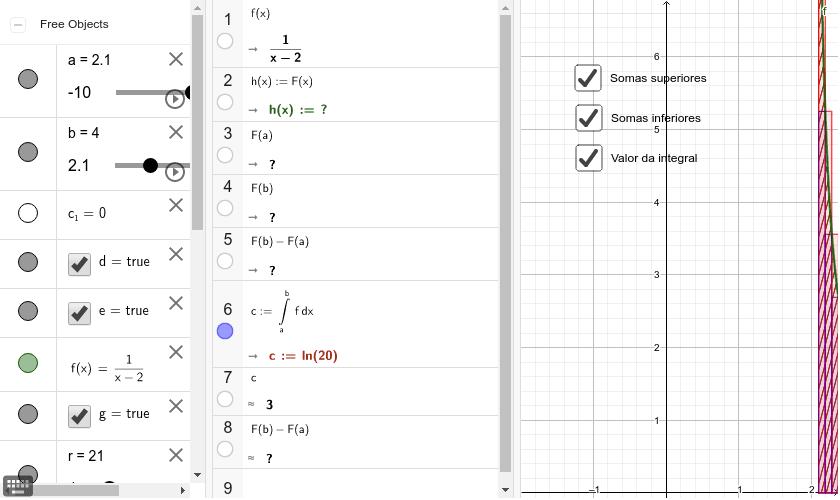 Neste exemplo vamos utilizar, além da janela de álgebra, a janela Cálculo Simbólico (CAS). Press Enter to start activity