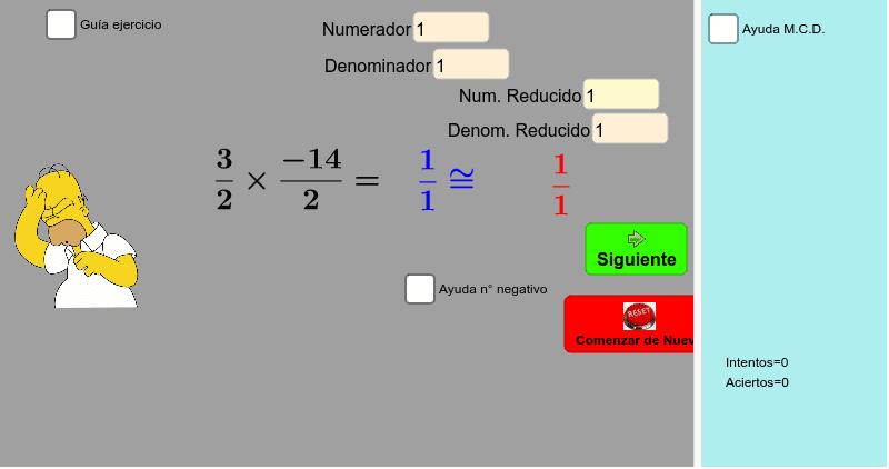 Producto de Fracciones (simplificadas) Presiona Intro para comenzar la actividad