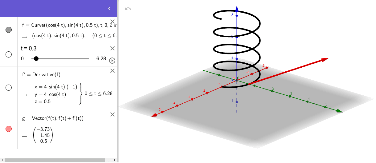 velocity vector of a spiral motion. Use the slider for the time t to see how the velocity changes. Press Enter to start activity