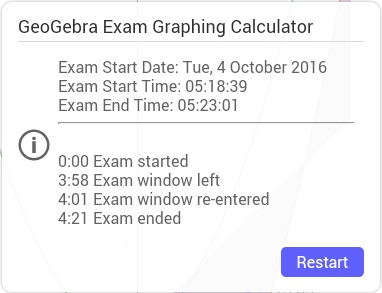Het logboek toont het begin- en eindogenblik van het examen en vermeldt of de leerling tijdens het examen de schermvullende weergave van GeoGebra Examen verliet.