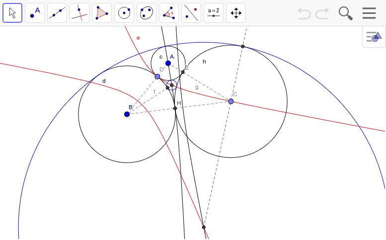 赤はAとBを焦点としてDを通る双曲線。黒はBとCを焦点としてHを通る双曲線。その交点が3円と接する円の中心。