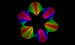 Rainbow Möbius bands animation with segments