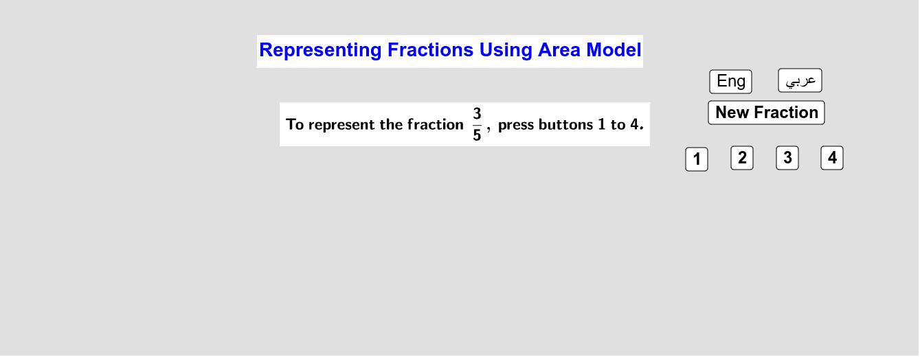 Representing Fractions Using Area Model        تمثيل الكسور باستخدام نموذج المساحة Press Enter to start activity