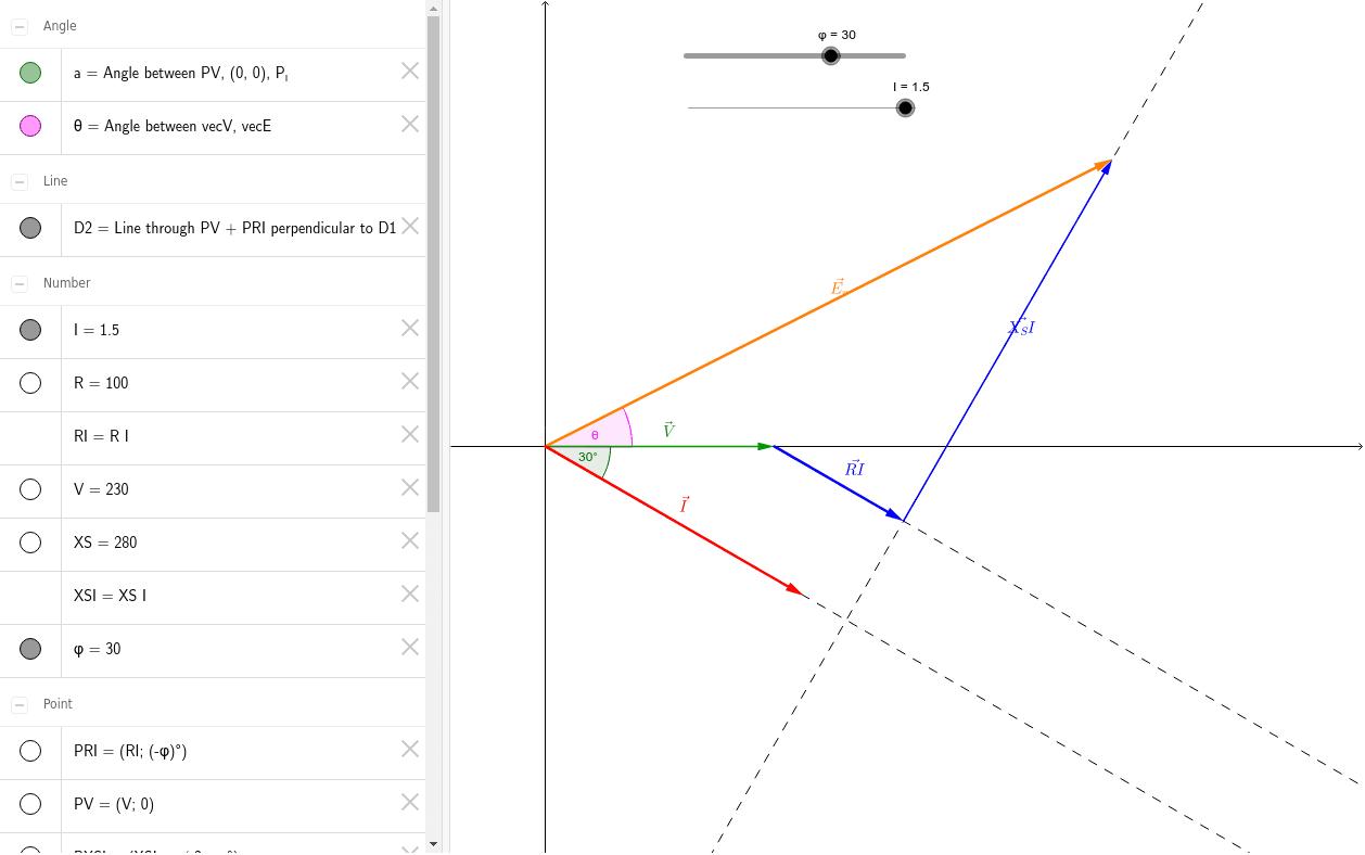 """Diagramme synchrone d'alternateur en fonction du courant efficace I et du déphasage Tapez """"Entrée"""" pour démarrer l'activité"""