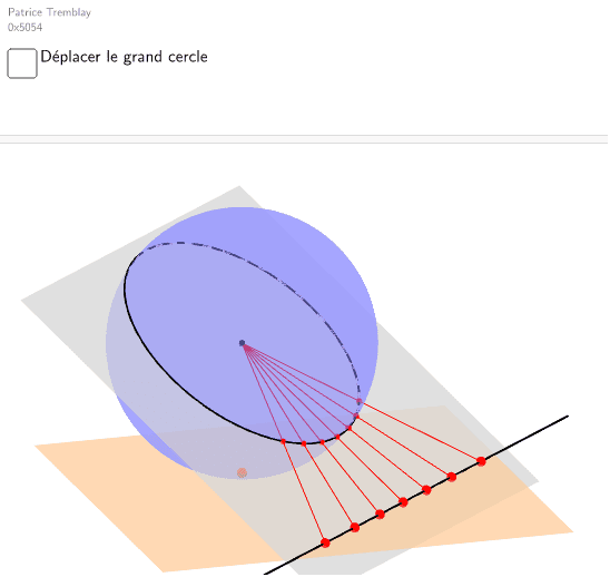 Les grands cercles sont projetés sur des droites