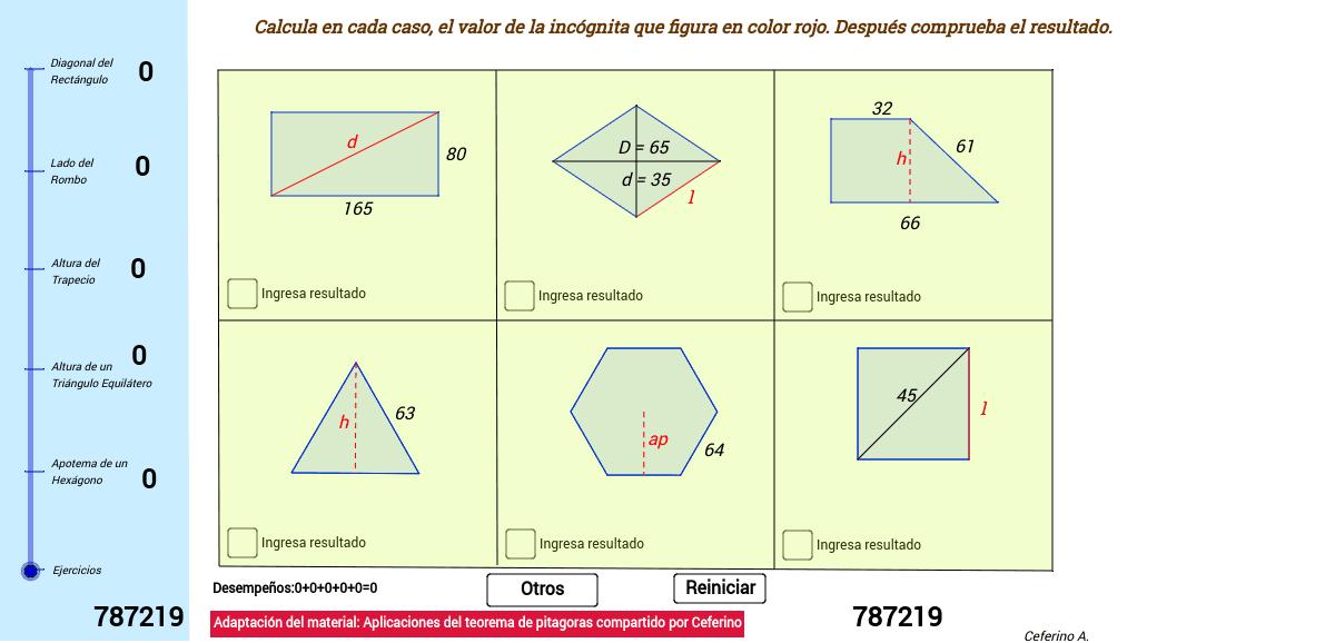Adaptación del material aplicaciones del teorema de pitagoras compartido  por Ceferino A. Press Enter to start activity