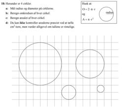 Beregn omkreds og areal af cirkler