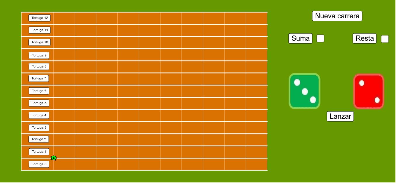 Actividad de probabilidad, consistente en lanzar dos dados y sumar (o restar) sus puntuaciones. Se moverá la tortuga correspondiente al resultado obtenido. ¿Cuál de ellas ganará? ¡¡¡Hagan sus apuestas!!!