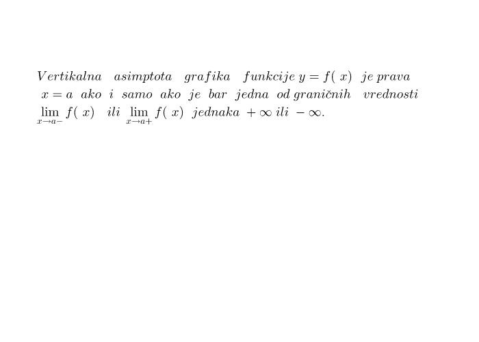 Definicija vertikalne asimptote grafika funkcije Pritisnite Enter kako bi započeli aktivnost