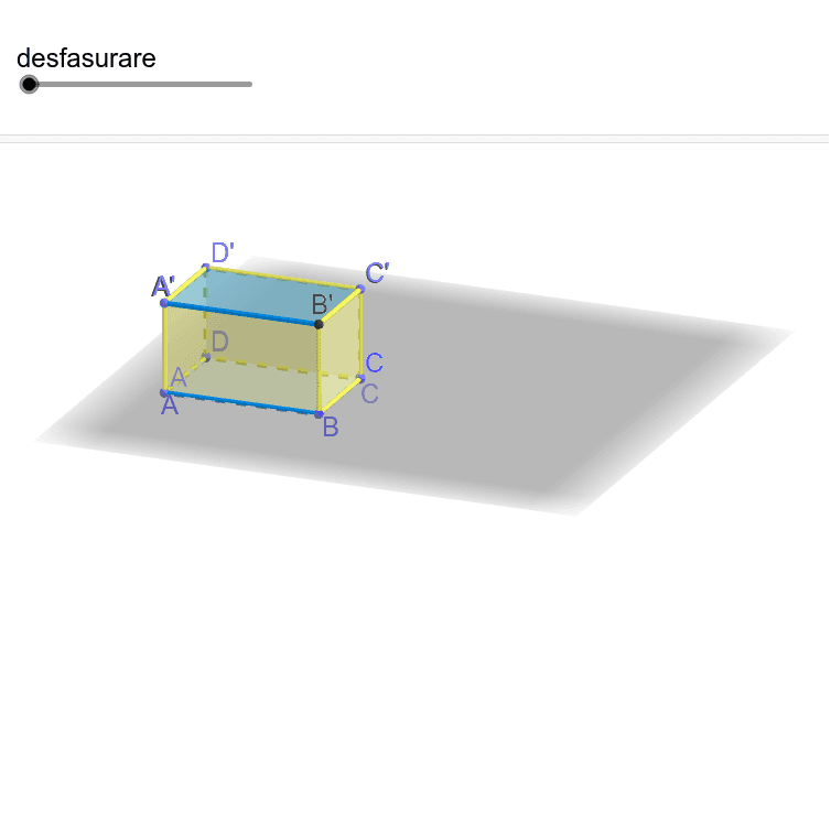 1. Fie ABCDA'B'C'D' o hală sub formă de paralelipiped dreptunghic cu AB=50m, BC=30m și AA'=5m. Pe suprafața laterală se aplică olinie decorativă care pleacă din punctul A în punctul A'. Aflați lungimea minimă a liniei. Apăsați Enter pentru a începe activitatea