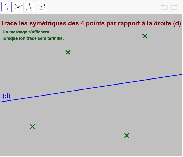 """Sur GeoGebra, il n'y a pas de règle pour mesurer : les longueurs sont donc reportées au compas (en traçant des cercles). Tapez """"Entrée"""" pour démarrer l'activité"""