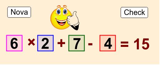 Clique em 2 números para trocá-los de posição entre si, de modo que o resultado fique correto.