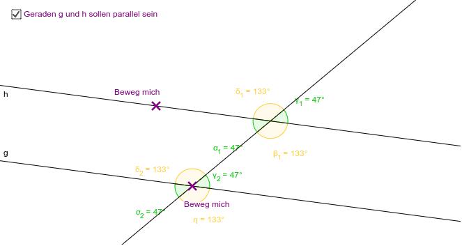 Was stellst du zu den Stufenwinkel (grün) und Wechselwinkel (gelb) fest, wenn die Geraden parallel zueinander sind?