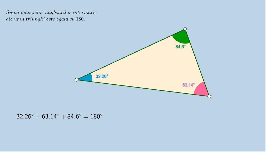 Modificaţi poziţiile vârfurilor triunghiului, analizaţi modificările și retineţi proprietatea sumei unghiulor unui triunghi. Apăsați Enter pentru a începe activitatea