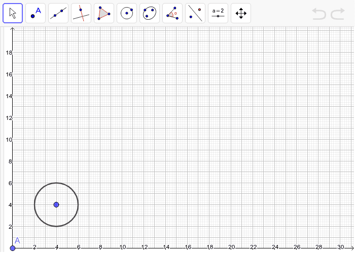 On the grid, draw a scale drawing of the circle with a scale factor of 3.