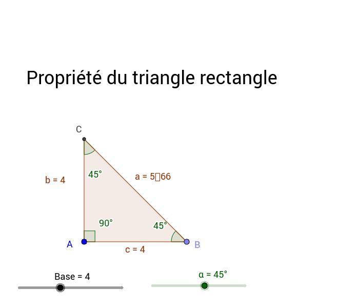 """Identifiez la propriété du triangle rectangle pouvant être démontrée à l'aide de cette activité interactive. Tapez """"Entrée"""" pour démarrer l'activité"""