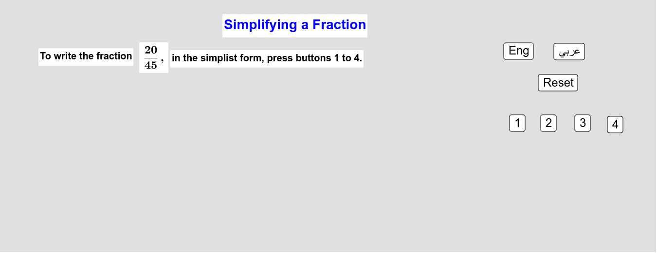 Simplifying Fractions    تبسيط الكسور Press Enter to start activity