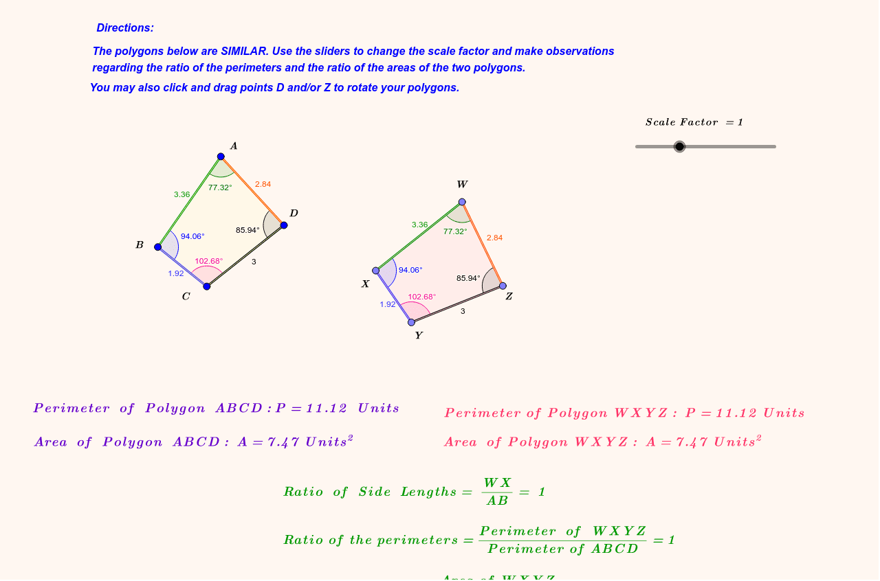 Scale Factors of Similar Polygons Press Enter to start activity
