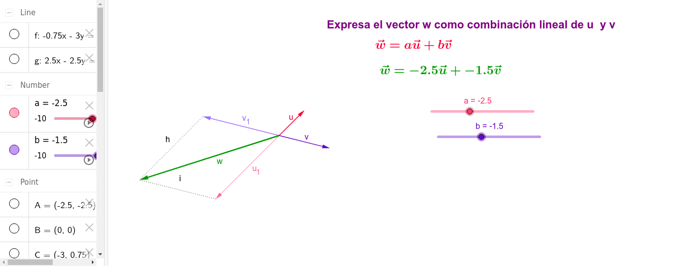 Combinación lineal de vectores Presiona Intro para comenzar la actividad