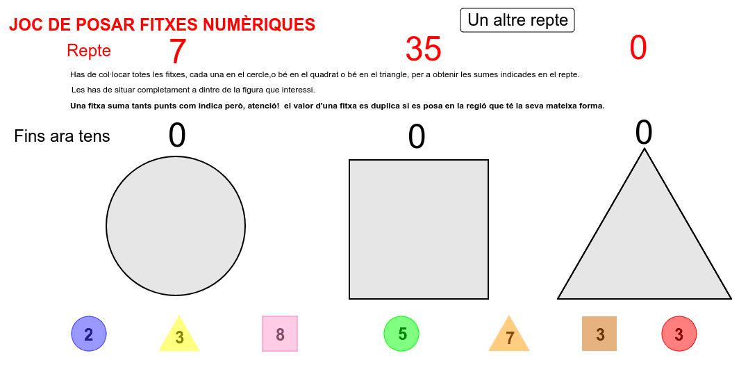 Una idea del Museu de Matemàtiques de Catalunya (mmaca).  L'applet té sempre solució però no es pot assegurar que sigui única