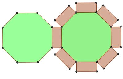 Síť se skládá ze dvou pravidelných osmiúhelníků a z osmi shodných obdélníků.