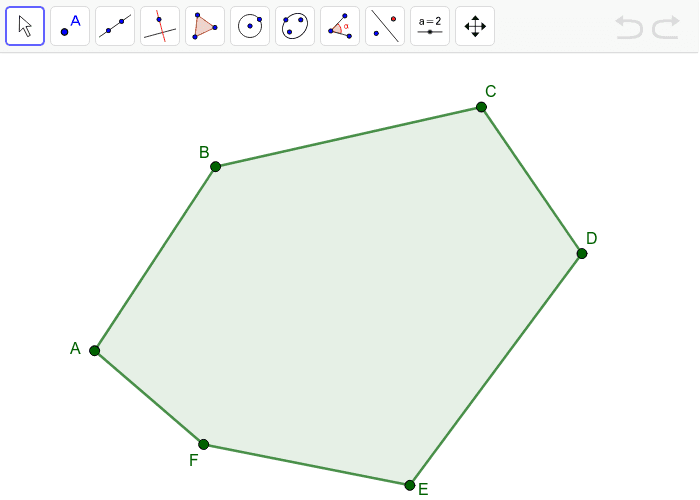 Start at vertex B, use the line segment feature to draw as many triangles as you can that are attached to the other vertices of the polygon. Press Enter to start activity