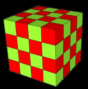 Velká kostka je poskládaná ze zelených a červených kostiček.