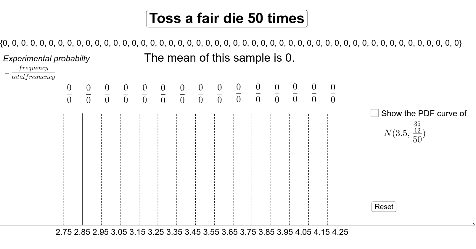 Generate sample means to compare the experimental probability with the probability density function of the corresponding normal distribution. Press Enter to start activity