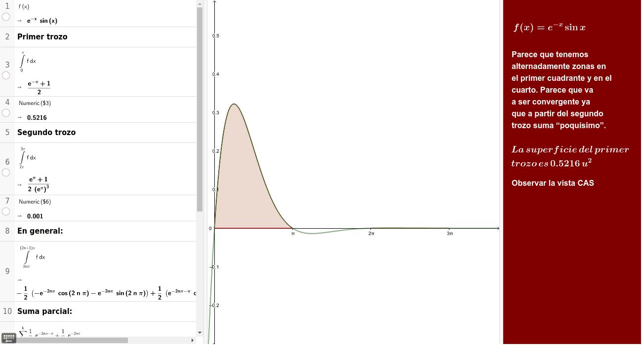 Halla la superficie encerrada entre la función y la parte positiva de OX.