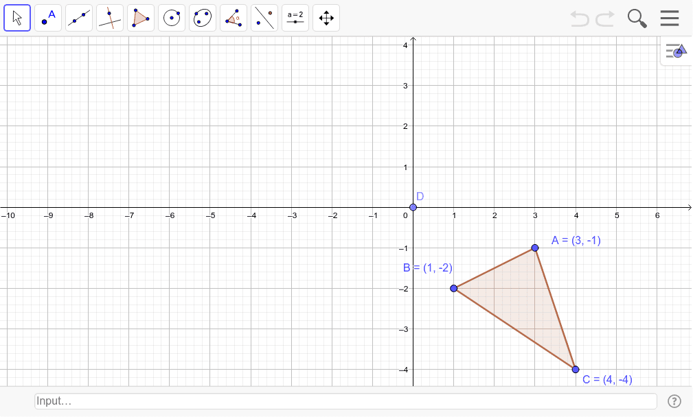 Translate the given triangle (x,y)-->(x-5, y+4); then rotate 90 degrees counterclockwise around D.