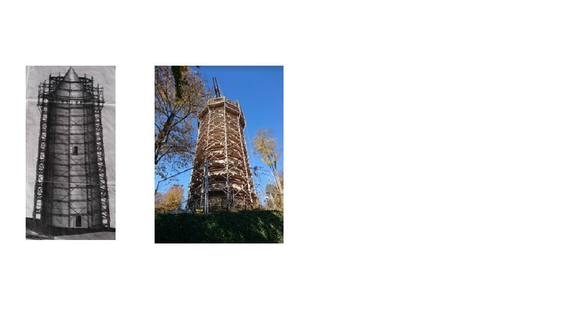 Nákres dřevěného lešení a jeho realizace