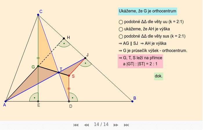 Důkaz tvrzení b) pomocí podobnosti trojúhelníků: Zahajte aktivitu stisknutím klávesy Enter