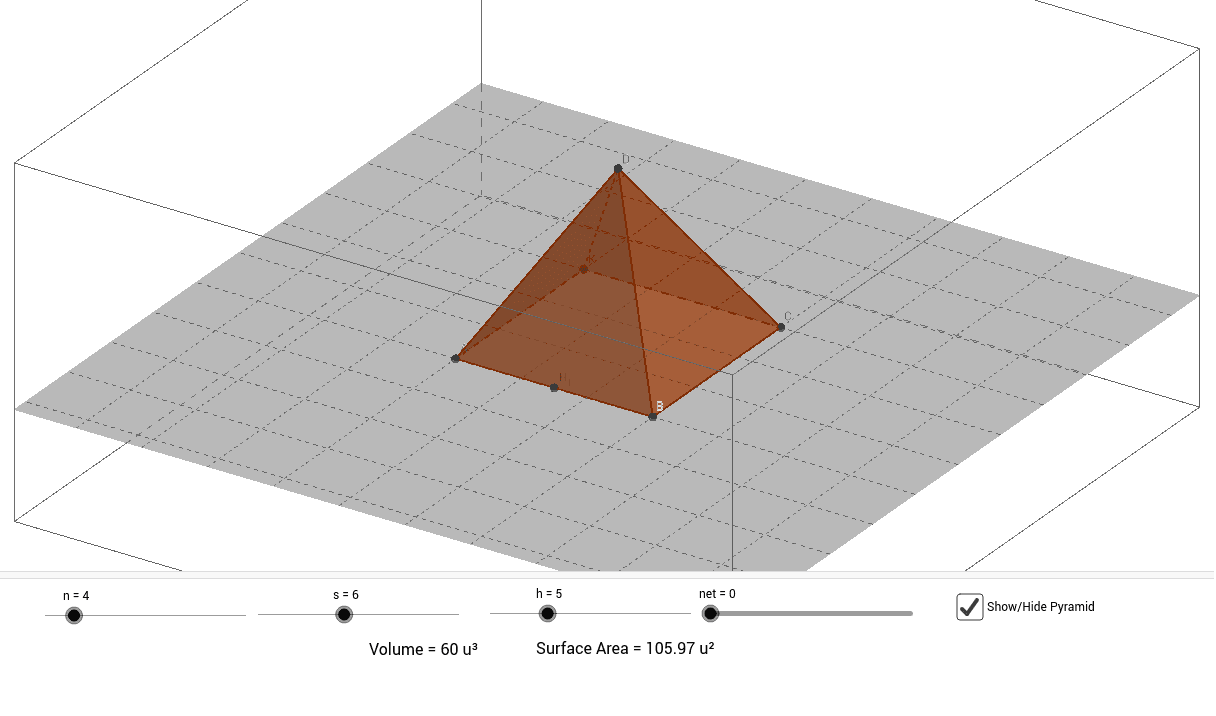 n = # of base sides, s = length of base edge, h = height